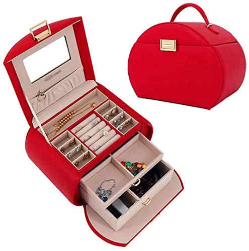 Caja de joyas de joyería para mujer Joyería Organizador Caja PU Cuero Multi-capa Capacidad grande Caja de almacenamiento de casa (Color: Verde)