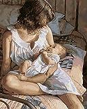Pintura digital sin marco, imagen de madre y bebé, pinturas al óleo por números, decoración de pared, pintura DIY sobre lienzo, regalo 40X50Cm
