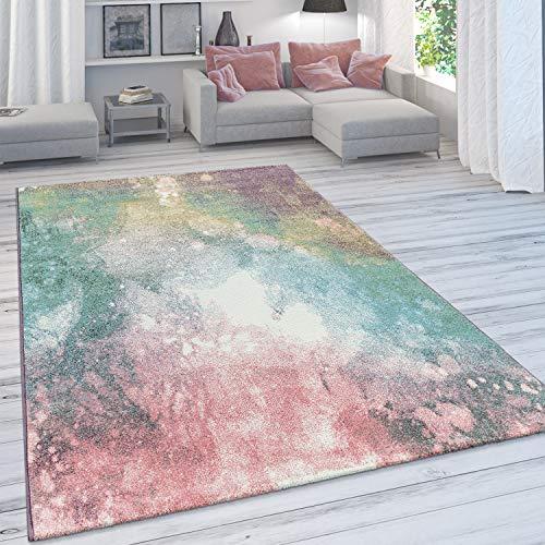 Paco Home Wohnzimmer Teppich, Moderner Kurzflor in Pastell Farben, Vintage Galaxy Muster, Grösse:160x230 cm, Farbe:Mehrfarbig