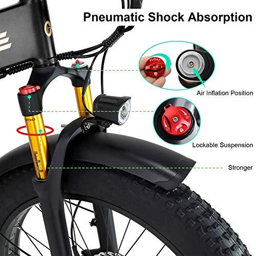W Wallke X3 Pro Electric Bike Folding Ebike Fat Tire Electric Mountain Bicycle 750W 48V Lithium Battery Ebike for Adults 26 Inch Dual Shock Absorption Premium Aluminum Alloy Frame