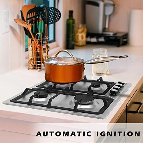 24'' Stainless Gas Cooktop,Built-in Stainless Steel Stove 4 Sealed Burners with FFD and Enamel Pan Stands,Cast Iron Pan Support