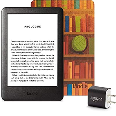 Kindle Essentials Bundle including Kindle, now with a built-in front light, Amazon Printed Cover, and Power Adapter by