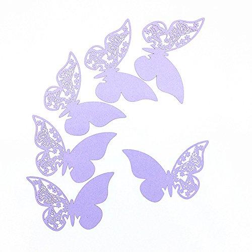 ElecMotive 100 Stück Schmetterling Tischkarten Namenskarten Glasanhänger Wandsticker für Tischdeko Hochzeit Party Haus Deco (Flieder)