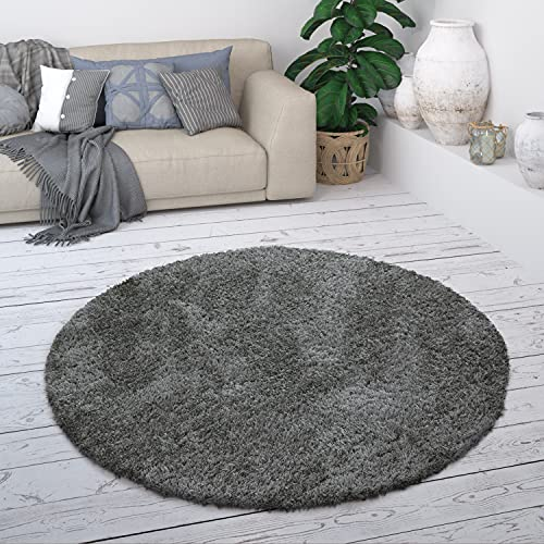Paco Home Hochflor Teppich, Weicher Moderner Wohnzimmer Shaggy in Flokati Optik, Einfarbig, Grösse:Ø 160 cm Rund, Farbe:Anthrazit