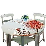 Rundes Tischtuch Polyester Fahrrad Baum Einfach Und Langlebig Weich Lässig Essenszubehör 140Cm Durchmesser
