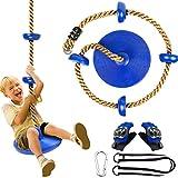 Cuerda de escalada para niños y columpio, 4YANG, columpio redondo para niños, columpio de disco fuerte para exteriores, patio trasero, patio de juegos, incluye un par de guantes