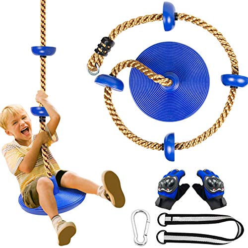 Columpio de escalada de árbol con plataforma para niños Crtkoiwa con cuerda de escalada de disco colgante exterior, con un par de guantes