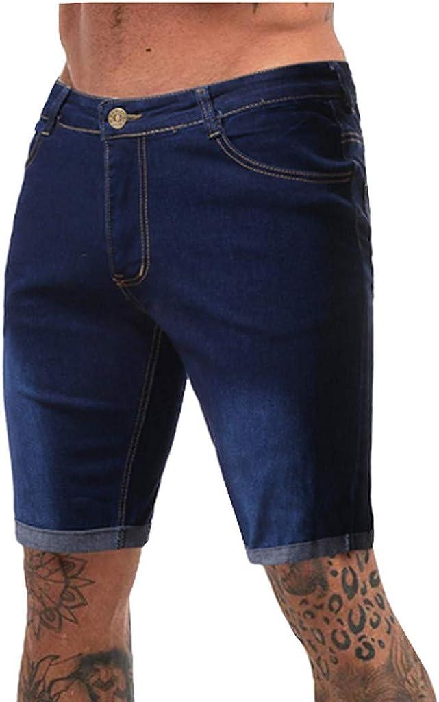 Mens Demin Shorts Casual Fitness Bodybuilding Pocket Denim Skin Full Sports Jean Pants