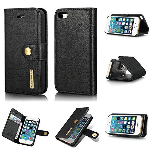 NOLOGO Caso proctive Teléfono Caso PU del Cuero del tirón magnético for el iPhone 5 g/SE con Soportes Caja del teléfono Celular Monedero (Color : Black)