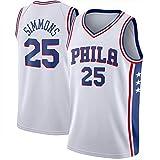 OLJB Maillot de baloncesto para hombre Ben Simmons #25 Philadelphia 76ers, camiseta de baloncesto de malla bordada, 100% poliéster, color blanco y XL