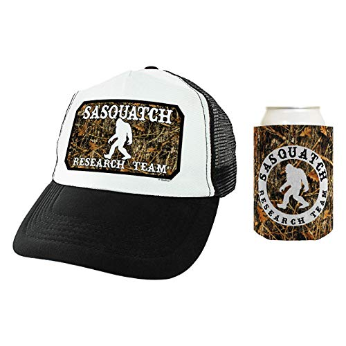 ThisWear Bigfoot Gifts Sasquatch Research Team Outdoor Adventure Gifts Trucker Hat & Coolie Bundle Camo