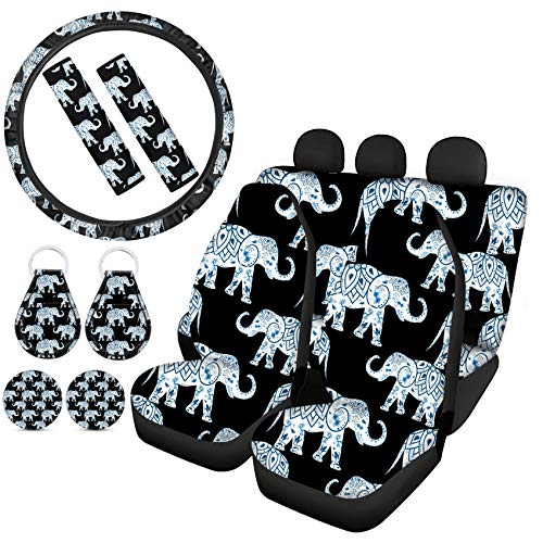 Goyentu Decorative Bohemian Blue Mandala Indian Elephant Black Car Seat Covers Full Set for Front Rear Saddle Blanket with Steering Wheel Cover+Seatbelt Strap Cover+Coasters+Key Chains Universal Fit