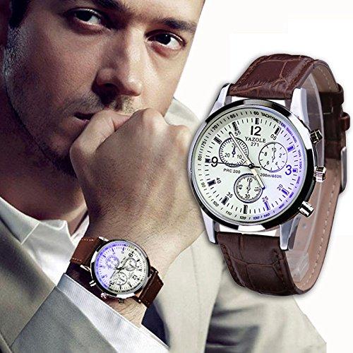 Yogogo Herren Quartz Analog Ray Armband, 1 Cent Artikel Armbanduhr | Lederband | Dekoration | Sportuhr | Geschenk | Alugehäuse | Quarzwerk | 24cm Bandlänge (Braun 1)