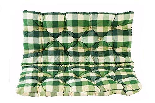 Meerweh Sitzkissen und Rückenkissen Bank Hanko, kariert grün, ca 100 x 98 x 8 cm, Bankauflage, Polsterauflage