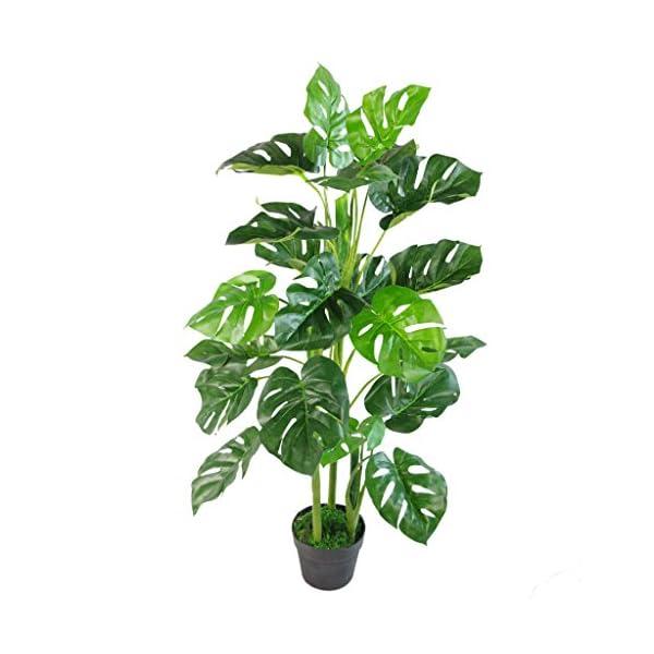 Leaf Planta Monstera Artificial de 60 cm en Maceta Negra