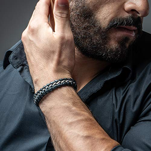 SERASAR Mens Leather Bracelets – African Bracelet for Men Silver Cowhide Gift-Box Braided Bracelet Stainless Steel Jewelry Wrist-Band Cuff Wrap Rope Bangle Dad Man Pulseras para Hombres Cuero Regalo