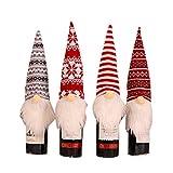 GROOMY Bolsa de Regalo, 4 Piezas/Set Sombrero Largo Navidad Gnomo Sueco Santa Champagne Cubierta de Botella de Vino Inicio-