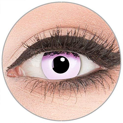 Farbige Kontaktlinsen zu Fasching Karneval Halloween in Topqualität von 'Glamlens' ohne Stärke 1 Paar Crazy Fun rosa 'Pink' mit Behälter