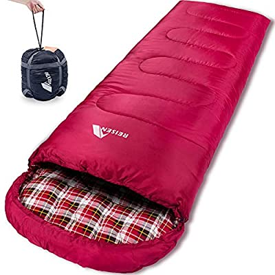 Reisen Warm & Cold Weather Sleeping Bag, 0 Degree Celsius Lightweight Sleeping Bags for Adults/Youth, Great for 3-4 Season Backpacking/Camping/Hiking (30°F-50°F) ...