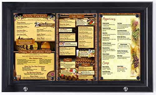 """Weather Resistant, Magnetic, Bulletin Board with Swing-Open Locking Door, Outdoor Menu Case for (3) 8-1/2"""" x 14"""", Wall Mounted Vertically or Horizontally, Black Finish, for Indoor Or Outdoor Use"""