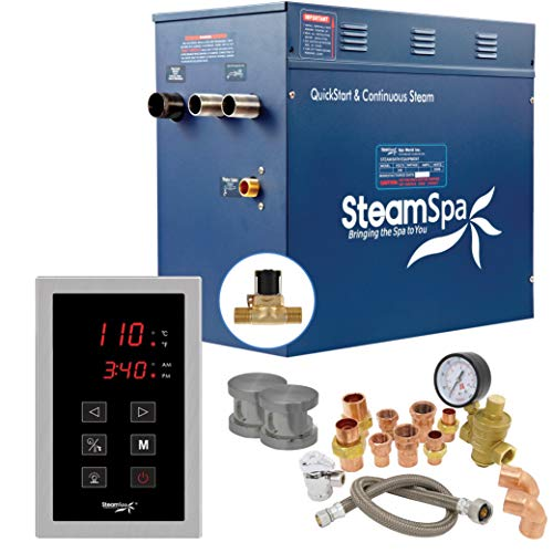 SteamSpa Premium 12KW QuickStart Acu-Steam Bath Generator Package with Built-in Auto Drain in Brushed Nickel   Steam Generator Kit with Touch Screen Auto Drain Steamhead 240V   PRT1200BN-A