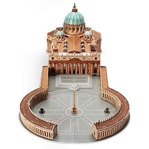 JJSFJH Juguetes educativos del Rompecabezas 3D Configuración clásica Italiana carácter Europeo del Vaticano San Pedro Catedral de construcción de descompresión Modelo Adulto de Rompecabezas for niños