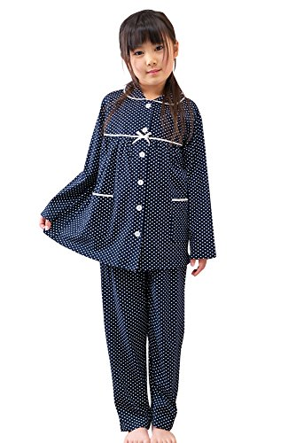 ケーズアイ 子供パジャマ女児用 綿100%ニット地ドット 前開きパジャマ 長袖・長パンツ 春・秋向き 150サイズ