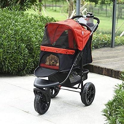 PawHut Folding Pet Stroller 3 Wheel Dog Jogger Travel Carrier Adjustable Canopy Storage Brake Mesh Window for Small Medium Dog Cat Red 5