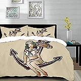 ropa de cama - Juego de funda nórdica, ancla, chica pinup con traje de marinero, tatuaje de tiburón y corazón, ilustración de los años veinte, juego de funda nórdica de microfibra con 2 fundas de almo