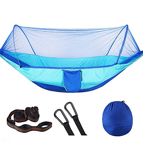 Jun7L Lightweight Outdoor Hammock With Mosquito Net Parachute Hammock Swing Suitable For Garden Travel Camping Travel Camping Hammock (Color : Blue sky blue, Size : 250x120cm)
