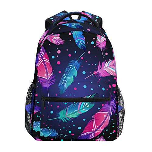 Aflyko Shining Feathers School Bookbag Laptop Backpack Travel Hiking Daypack for Teens 16 x 11.4 x 6.9 Inch