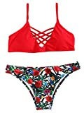 SweatyRocks Women Red Bathing Suit Spaghetti Strap Floral Print Crisscross Bikini Set, Red, Small