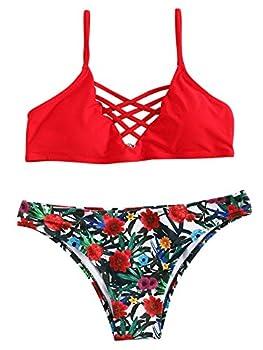 SweatyRocks Women Red Bathing Suit Spaghetti Strap Floral Print Crisscross Bikini Set Red Medium