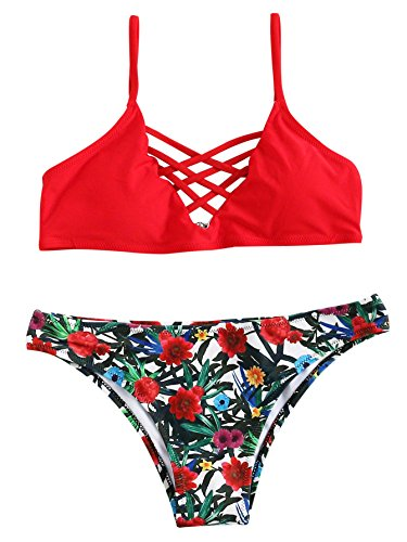 SweatyRocks Women Red Bathing Suit Spaghetti Strap Floral Print Crisscross Bikini Set, Red, Large