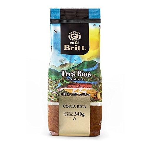 Café Britt - Costa Rican Tres Rios Valdivia Coffee (12 oz.) - Whole Bean, Arabica Coffee, Kosher, Gluten Free, 100% Gourmet & Medium Light Roast (1 Year Shelf-Life)