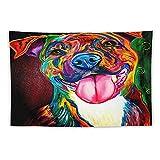 Manta Tapiz Para Colgar En Pared,Perro Mascota Pintura Obra de arte Animal Colorido Brillante Arco iris Pit Bull American Terrier Pit Bull Terrier, Estera Picnic Decoración Sala Estar,60x90'