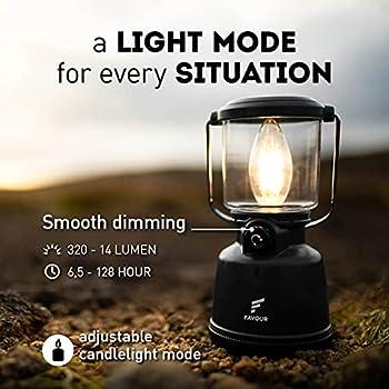 Favour Lampe Camping L0818 Retro LED Filament IP64 Étanche, Lampe LED Portable, Laterne Camping Batterie Rechargeable, Entièrement Dimmable y Compris en Mode Bougie, Abat-jour Amovible