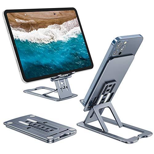 Henpone Soporte portátil teléfono celular, soporte para iPad, teléfonos móviles de 4 a 12,9 pulgadas, iPad, Kindle/Tablet, altura de ángulo ajustable para iPhone, tablet, soporte para escritorio