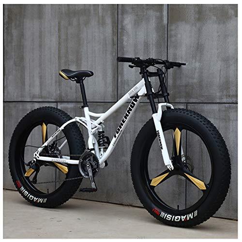NENGGE Hard Tail Bicicleta Montaña Neumático Gordo 26 Pulgadas para Hombre Mujer, Profesional Doble Suspensión Ciclismo MTB, Doble Freno Disco & Marco De Acero De Alto Carbono,White 3 Spokes,27 Speed