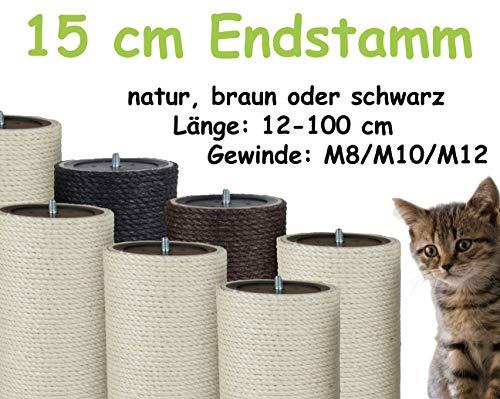 Kratzbaumland 15 cm Endstamm mit Stehbolzen, Ersatzstamm für Kratzbaum: Länge: 100 cm/Gewinde: 10 mm (M10), Farbe des Sisalseils: Natur