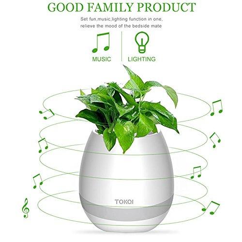 Pot de fleurs original Bluetooth tactile Voumey - Avec enceinte et lumière LED - Créez votre sons et lumières...