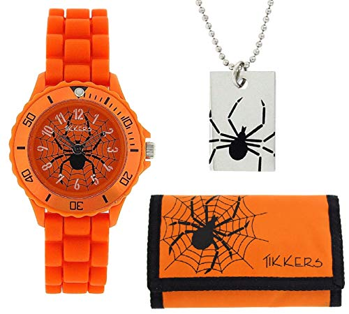 Tikkers Boys Analogue Spider Web Orange Watch Necklace & Wallet Gift Set ATK1000