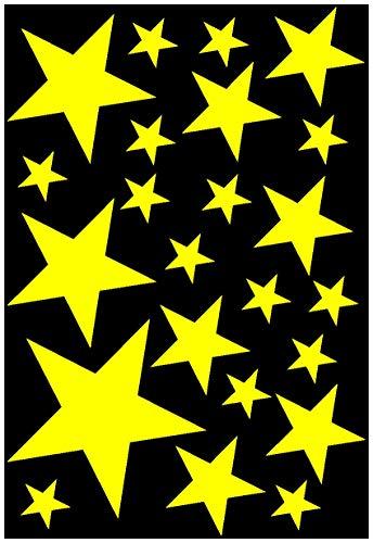 Samunshi® Sterne Aufkleber Set gefüllt 14x2,5cm6x5cm2x7,5cm1x10cm gelb