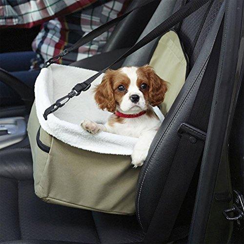 LAMEI Deluxe Portable Haustier Hund Auto Booster Seat mit Sicherheitsgurt Auto Korb, Hundehütte, Weiß