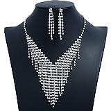 DRHYSFSA Set de joyería Casado Largo simulación Rhinestone Pendientes de la Borla y V Borla Collar Ajustable Conjunto de Joyas Vestido de Novia Accesorios de Plata Conjunto de Joyas de Boda