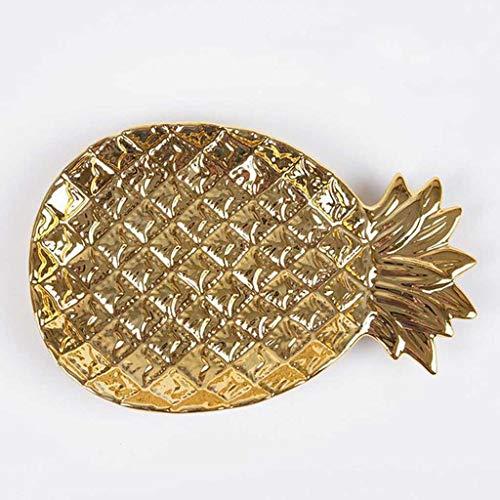 ECSWP KDSGP Creative Gold Cerámica Bandeja de Almacenamiento Golden Piña Joyería Paleta Paleta Paleta Placa de Fruta Seca Placa de decoración del hogar (Color : A)