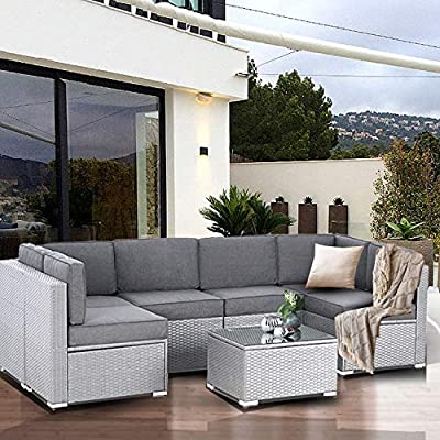 SUNCROWN Outdoor Patio Furniture 7-Piece Sofa Set Grey Wicker, Washable Seat Cushions with YKK Zippers and Modern Glass Coffee Table?Dark Blue Cushion?