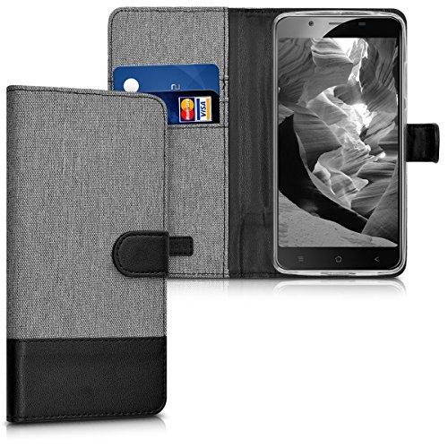 kwmobile Wallet Hülle kompatibel mit Blackview P2 / P2 Lite - Hülle mit Ständer - Handyhülle Kartenfächer Grau Schwarz
