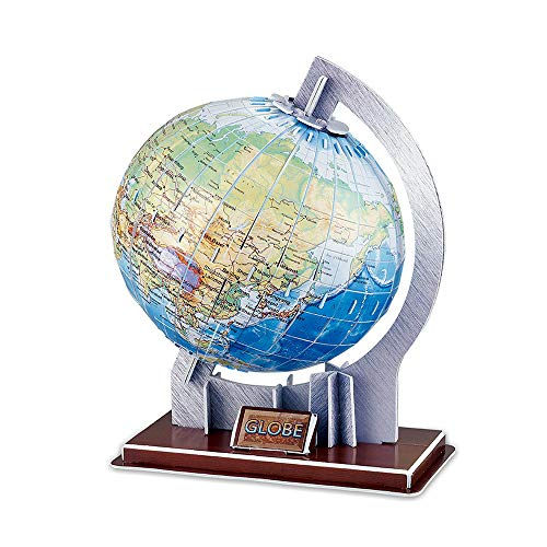 3D DIY Globe Earth Model Construction Kits 3D Jigsaw Globe Puzzles World Game Educational Toys Continents 3D Puzzle Toy for Kids Boys & Girls