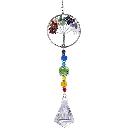 H/&D HYALINE /& DORA H/&D Brin de Mariage Dornement en Cristal Suspendu Clair avec Pendentif Prisme de Perles Octogonales